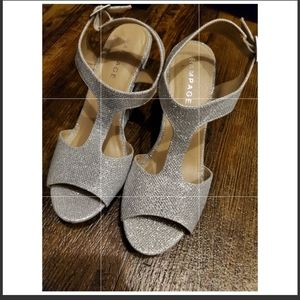 RAMPAGE wedges- sparkley silver-worn once